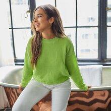 Pullover mit sehr tief angesetzter Schulterpartie und Stufensaum