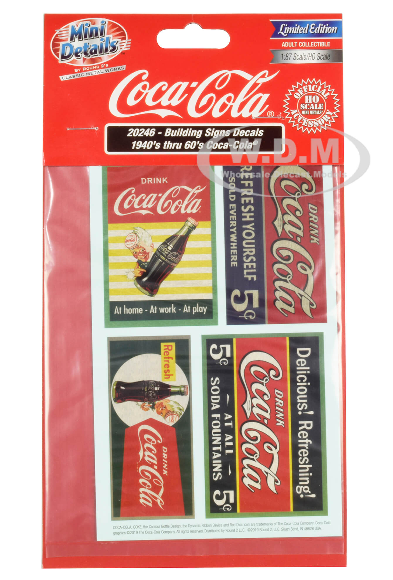 1940s Thru 60s Coca-Cola Building Signs Decals for 1/87 (HO) Scale Models by Classic Metal Works