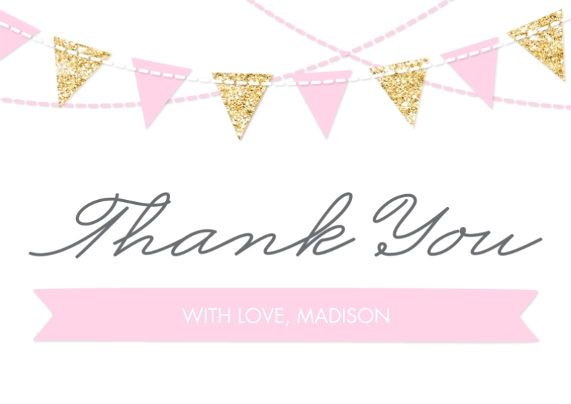 Kids Thank You Cards Flat Matte Photo Paper Cards with Envelopes, 5x7, Card & Stationery -Thank You Set Princess Flags