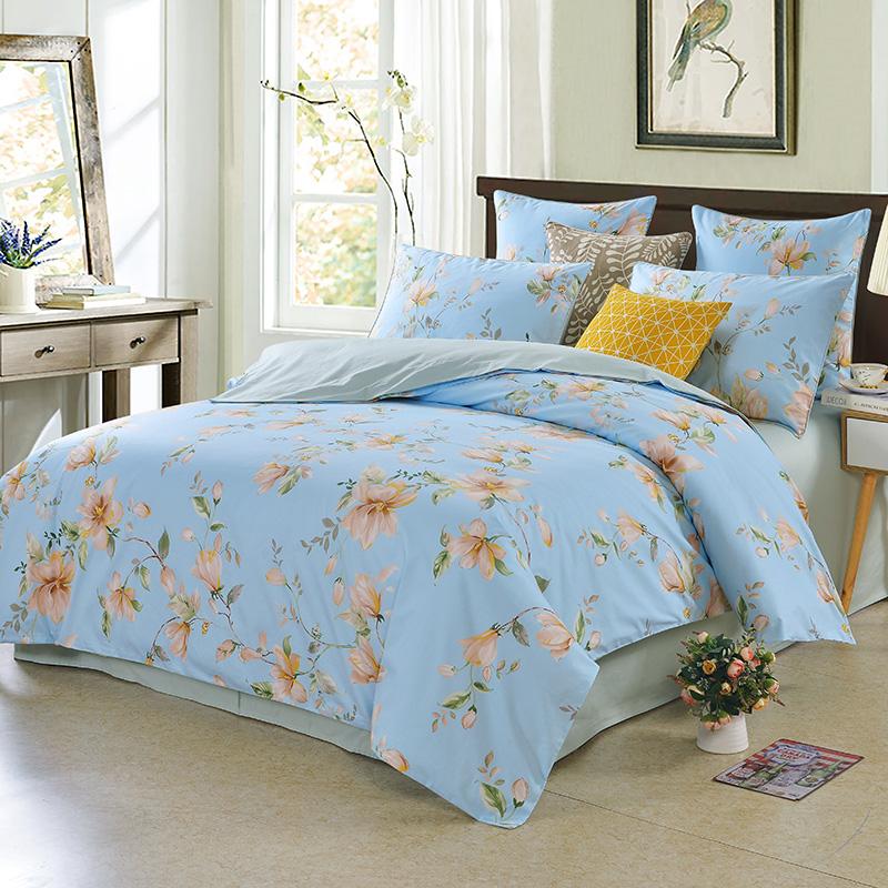 Fresh Flower Reactive Printing Duvet Cover Set Three-Piece Set Polyester Bedding Sets 2 Pillowcases