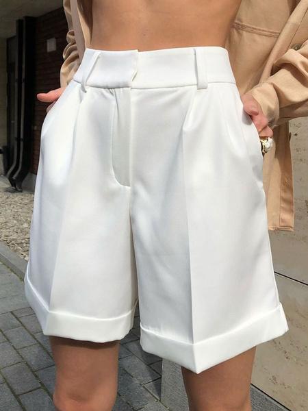 Milanoo Pantalones cortos para mujer Bolsillos casuales Poliester Pantalones cortos para mujer para otoño invierno