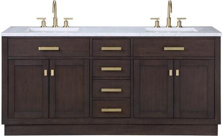 Chestnut Collection CH72A-0600BK 72 Double Sink Vanity with 4 Doors  4 Drawers  Italian Carrara White Marble Top  Metal Knobs and Solid Hardwood