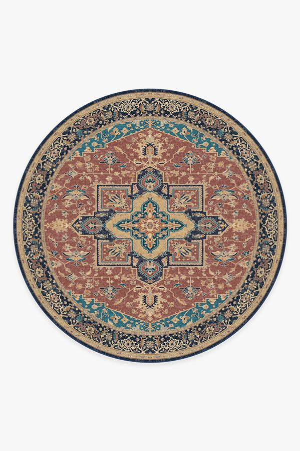 Washable Rug Cover | Maral Heriz Burgundy Rug | Stain-Resistant | Ruggable | 8' Round