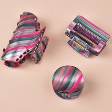 3pcs Striped Pattern Hair Claw