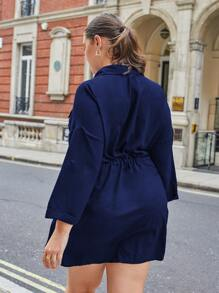 Plus Solid Drawstring Waist Shirt Dress