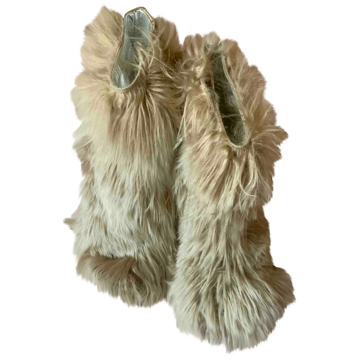 Maison Martin Margiela - Boots   pour femme en fourrure - beige