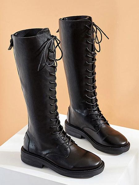 Milanoo Botas de combate negras Botas a media pierna con cordones de punta redonda negras
