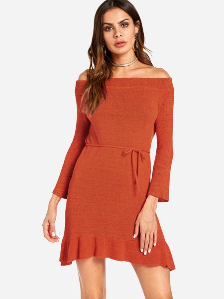 Yoins Red Self-tie Design Plain Off The Shoulder Flounced Hem Long Sleeves Dress