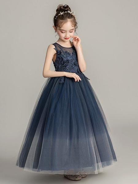 Milanoo Vestidos de niña de las flores Cuello joya Tul Sin mangas Hasta el tobillo Princesa Silueta Vestidos de desfile formales bordados para niños