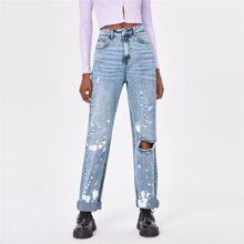 Jeans mit Spritztinte Muster und Riss