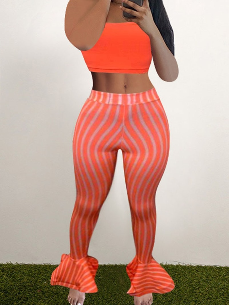 Ericdress Western Stripe Falbala Bellbottoms Pullover Two Piece Sets