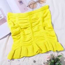 Ruched Bust Flounce Hem Tube Knit Top