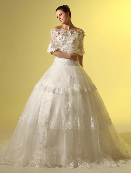 Milanoo A-line Bateau Neck Flower Lace Chapel Train Ivory Wedding Dress