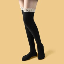Lace Trim Over Knee Length Socks