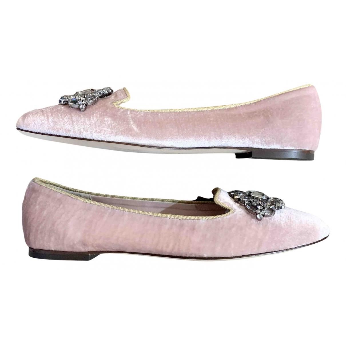 Dolce & Gabbana - Ballerines   pour femme en velours - rose