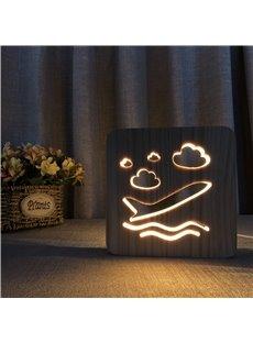 Natural Wooden Creative Aircraft Pattern Design Light for Kids