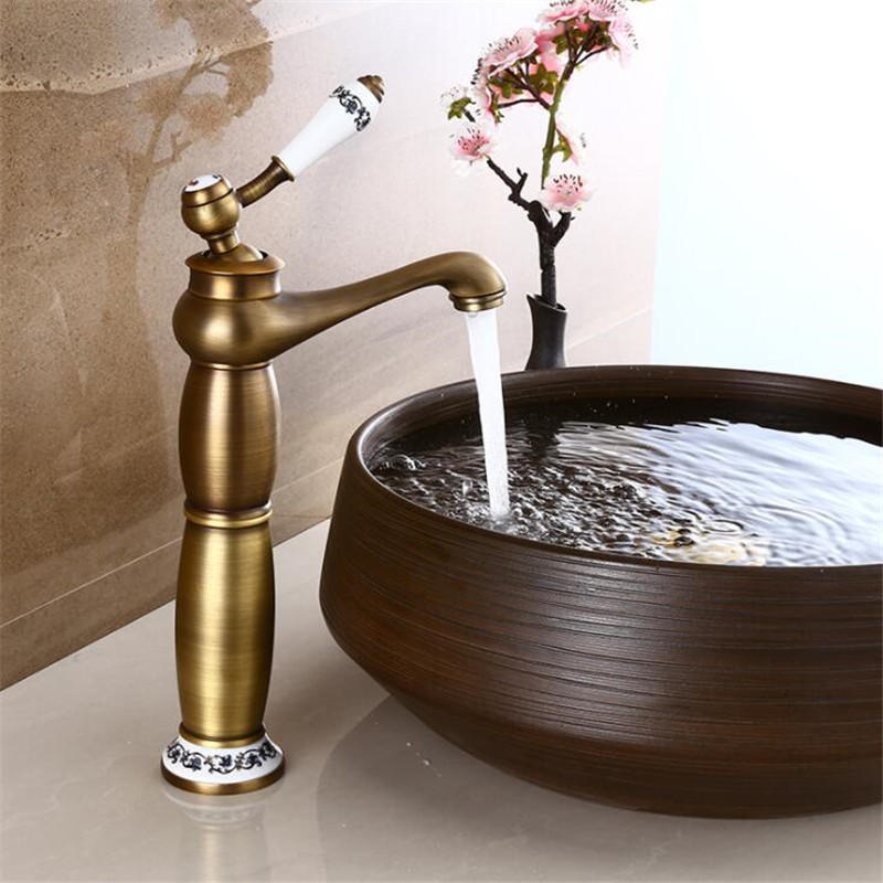 European Antique Faucet Full Copper Drawing Bathroom Basin Faucet Single Hole Mixer Tap