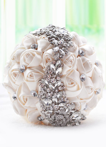 Milanoo Wedding Flowers Bouquet Ivory Satin Rhinestones Beaded Ribbons Bow Hand Tied Bridal Bouquet