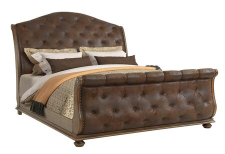 Karla Collection KA400-Q Sleigh Queen Size Bed with Deep Diamond Tufting and Nailhead Trim in Walnut