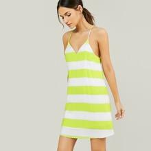 Racerback Sleeveless Stripe Shift Tank Dress