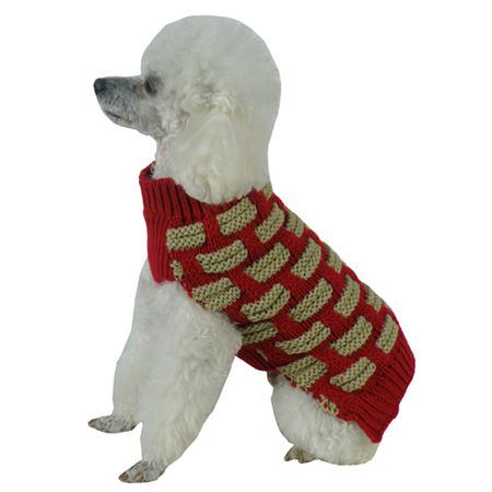 The Pet Life Fashion Weaved Heavy Knit Designer Ribbed Turtle Neck Dog Sweater, One Size , Red