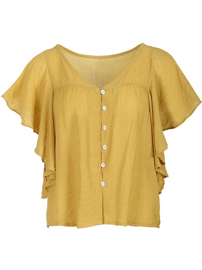 Ericdress Ruffles Patchwork Button Plus Size T-Shirt