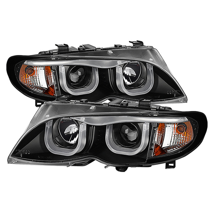 Spyder Auto PRO-YD-BMWE4602-4D-3DDRL-BK 1PC Black 3D Halo Projector Headlights with High H1 Lights Included BMW E46 330Ci 4Dr 02-05