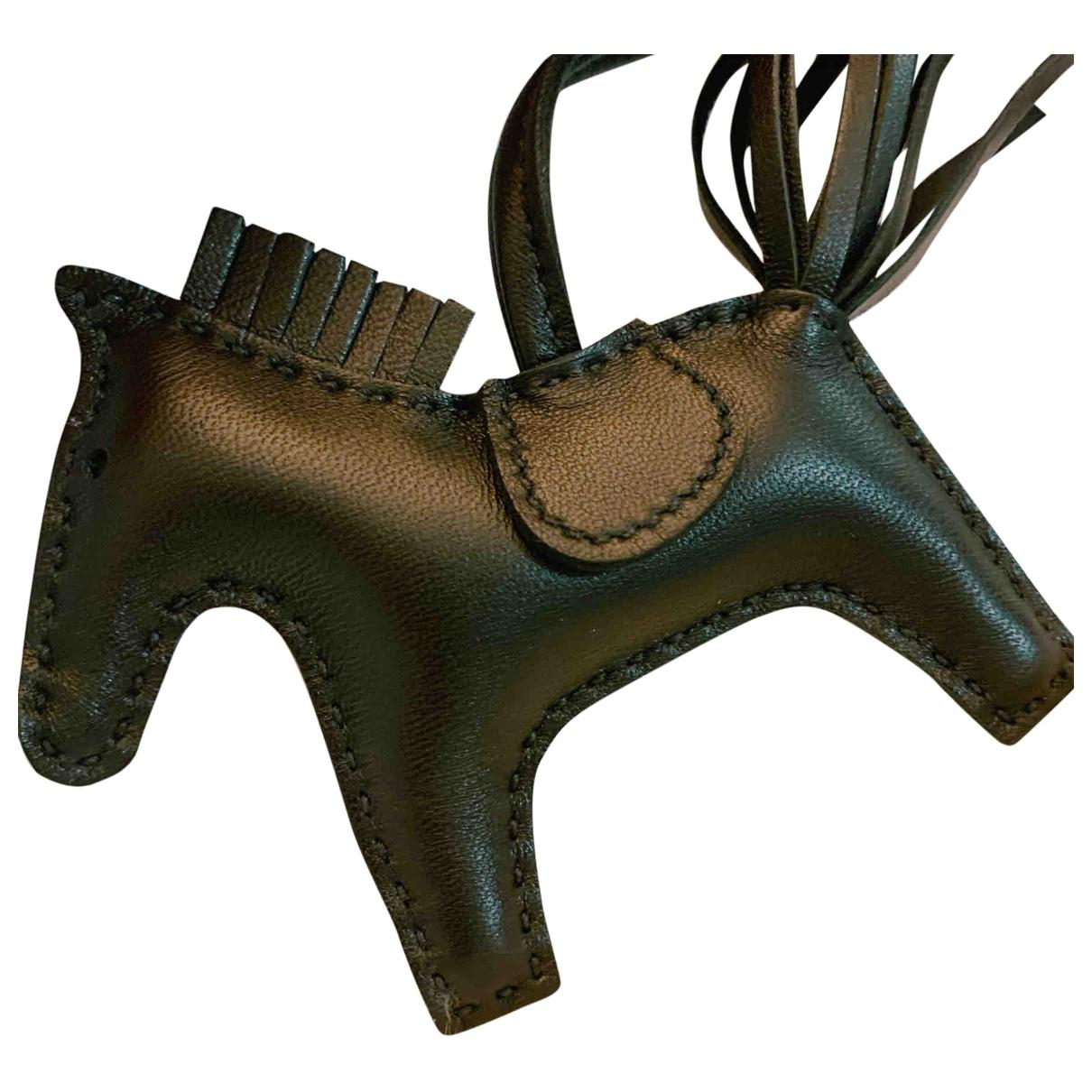 Hermes - Bijoux de sac Rodeo pour femme en cuir - noir