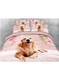 Smiling Golden Retriever Dog Anti-wrinkle Warm Duvet Cover Set 4-Piece 3D Animal Bedding Set