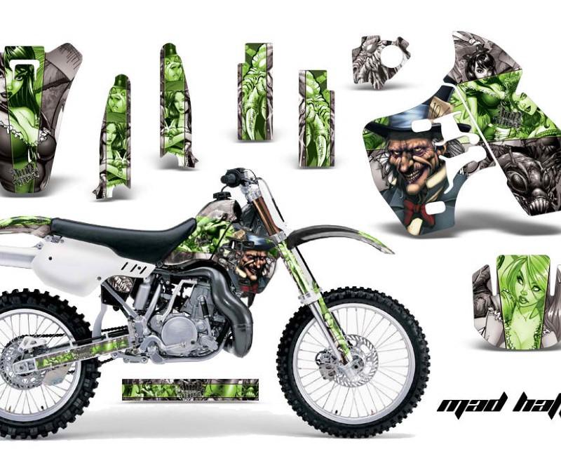 AMR Racing Dirt Bike Graphics Kit Decal Sticker Wrap For Kawasaki KX500 1988-2004áHATTER GREEN SILVER