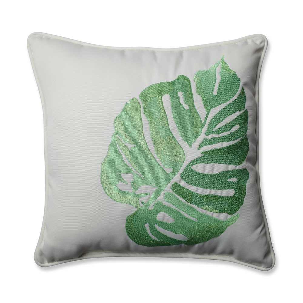 Pillow Perfect Outdoor/ Indoor Leaf Embroidery Green 18-inch Throw Pillow (18-inch Throw Pillow)