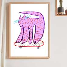 Cartoon Cat Print Wall Painting Without Frame