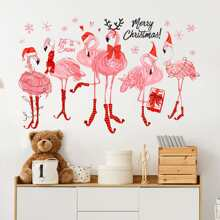 4pcs Christmas Flamingo Pattern Wall Sticker