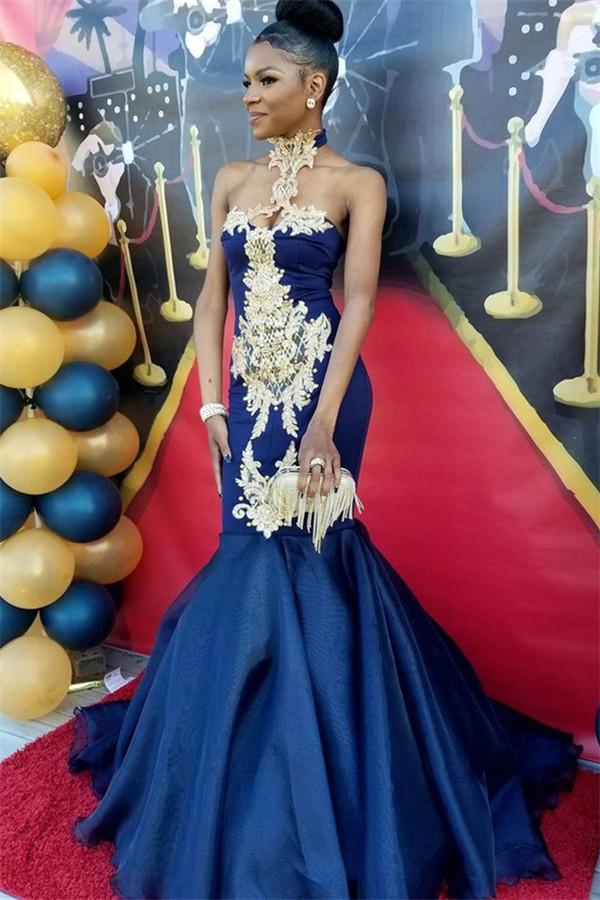 Robes de bal sexy sirene bleu marine   Robes de soiree appliques col haut SK0154