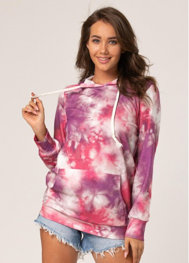 Drawstring Tie Dye Print Kangaroo Pocket Hoodie - M