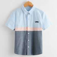 Boys Graphic Embroidery Colorblock Shirt
