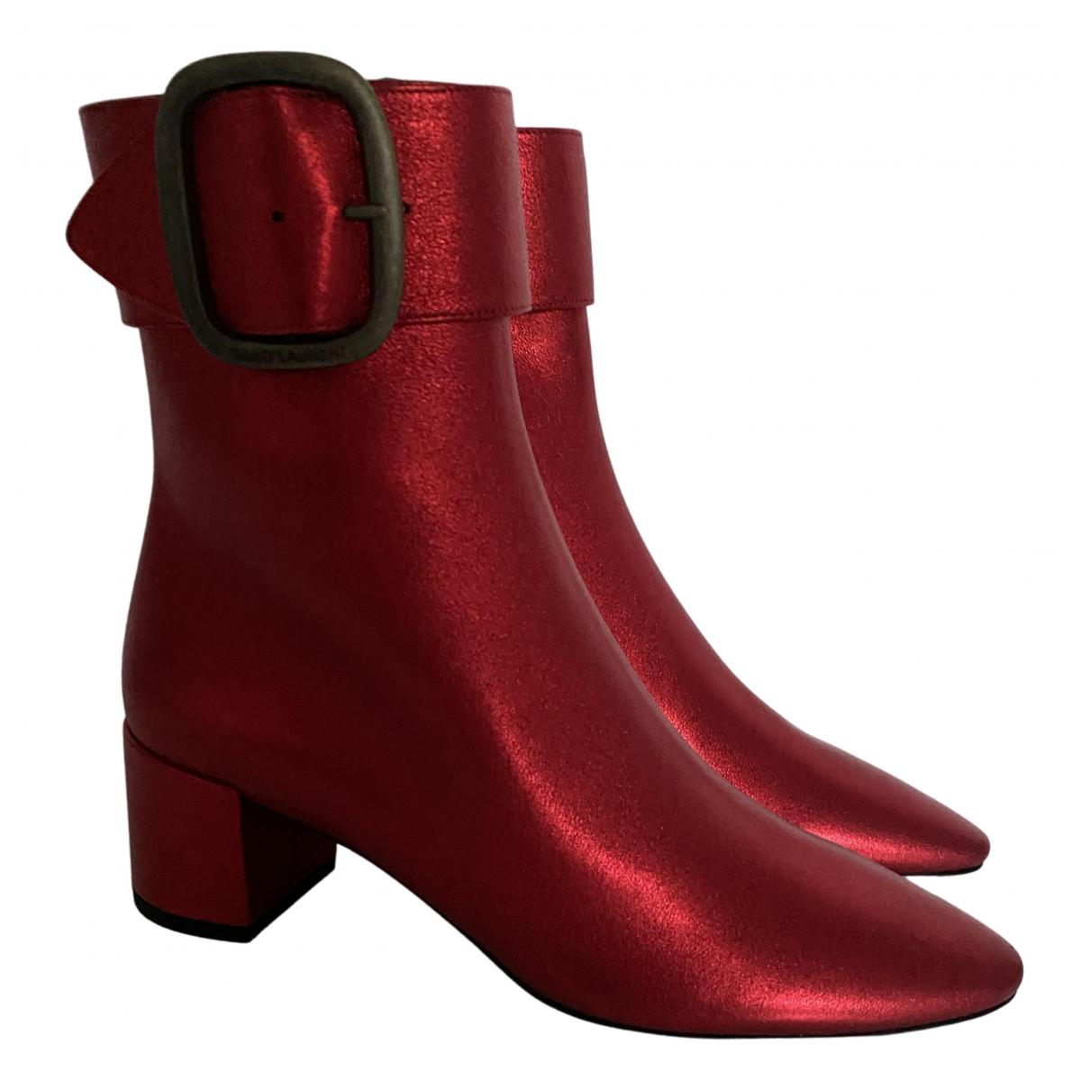 Saint Laurent - Boots Joplin pour femme en cuir - rouge