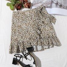 Leopard Print Tie Front Ruffle Trim Wrap Skirt