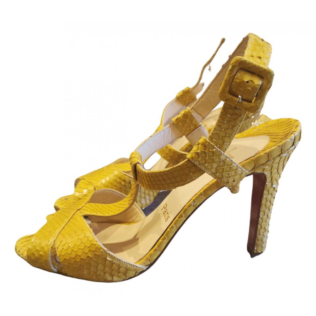 Christian Louboutin N Yellow Python Sandals for Women 37 EU