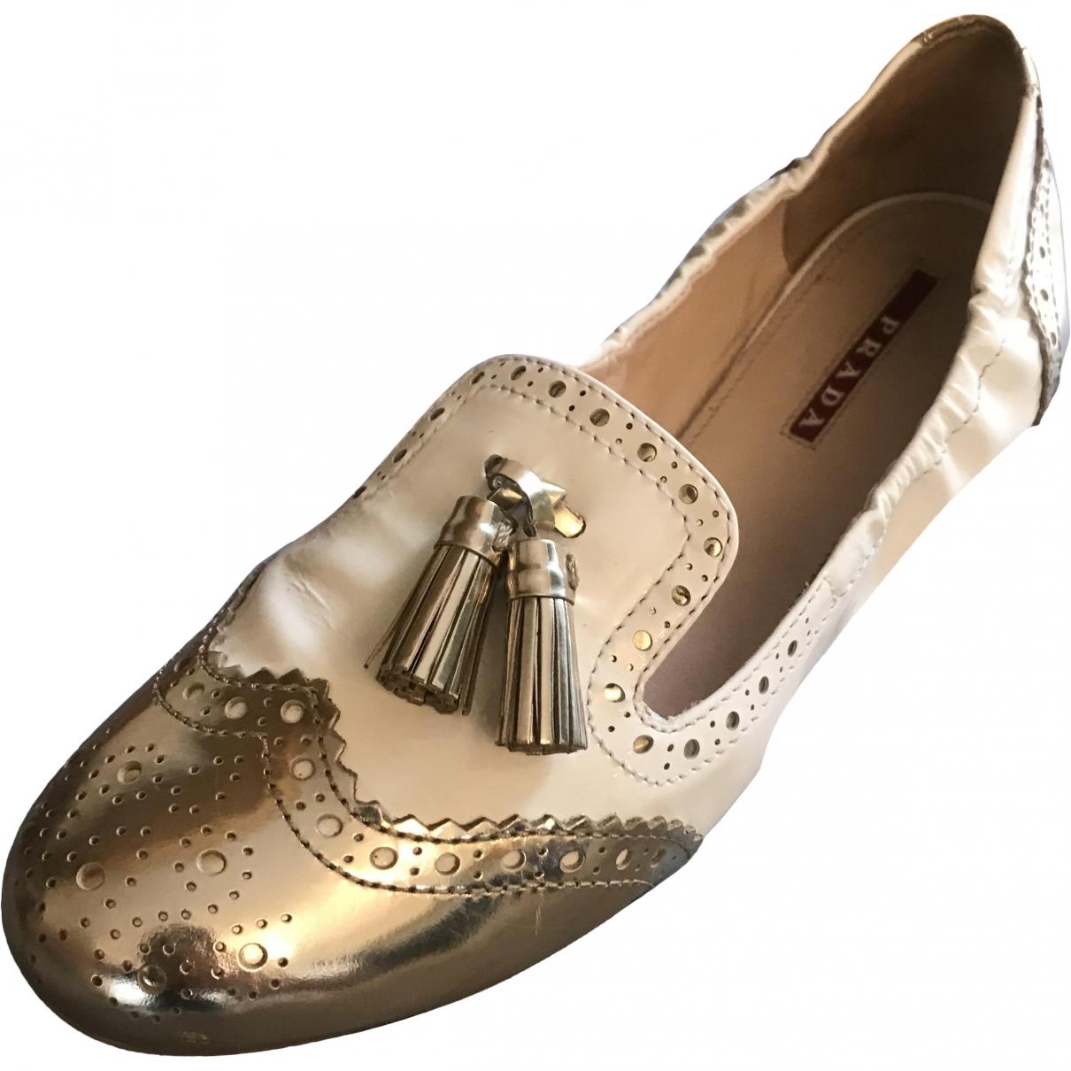 Prada \N Ecru Patent leather Flats for Women 39 EU