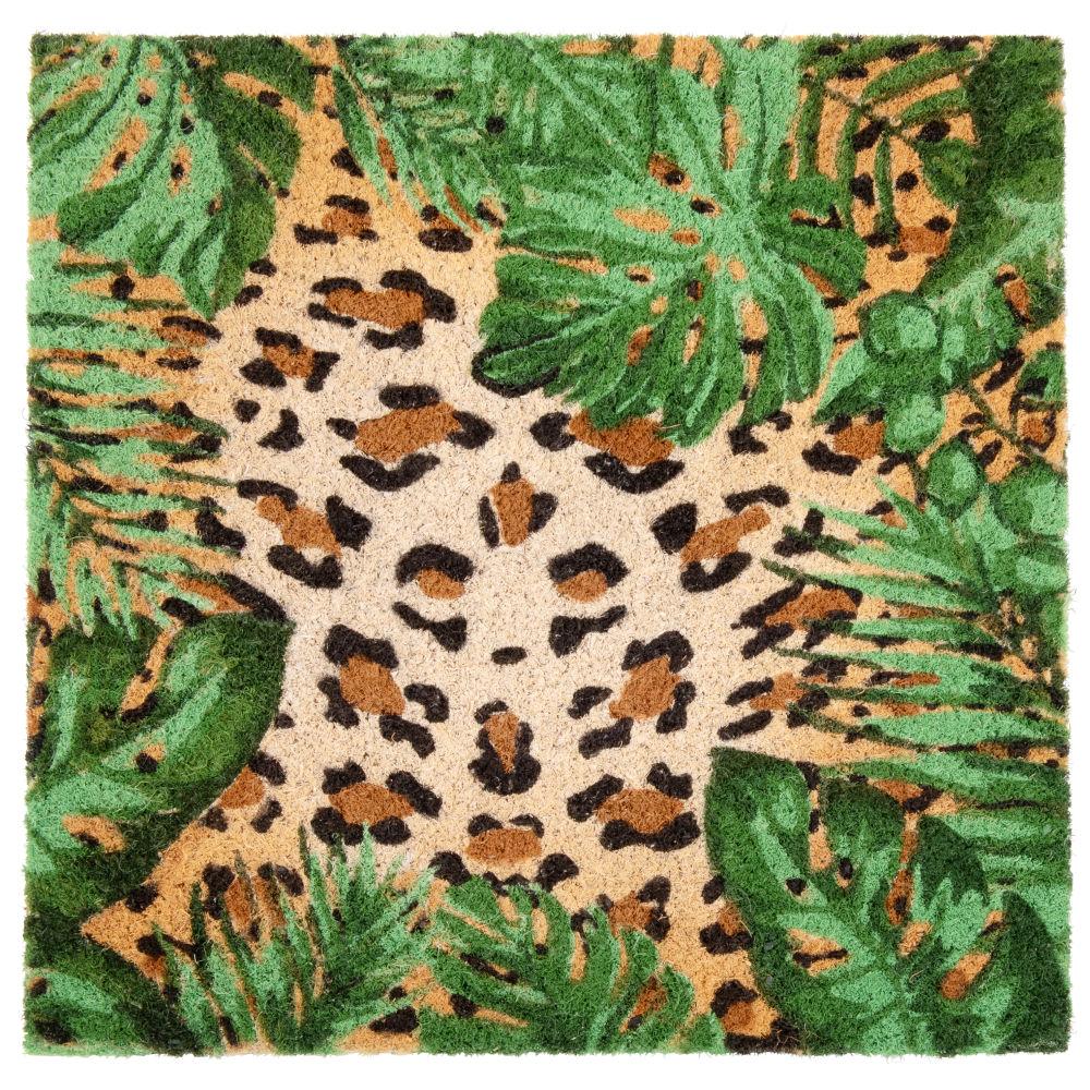 Fussmatte aus Kokosfaser mit Leopardenaufdruck 45x45