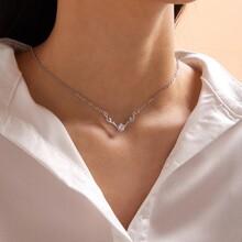 1pc Rhinestone Antlers Charm Necklace