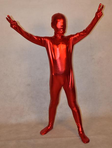 Milanoo Disfraz Halloween Zentai Metalico Brillante Entero Body Unisex Bodysuit para Niños Halloween