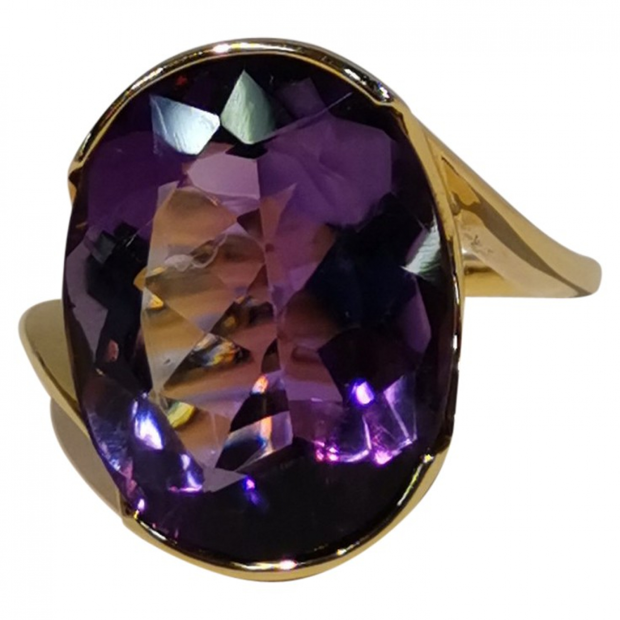Non Signe / Unsigned Amethyste Ring in  Gelb Gelbgold