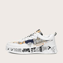 Men Lace-up Front Graffiti Print Skate Shoes