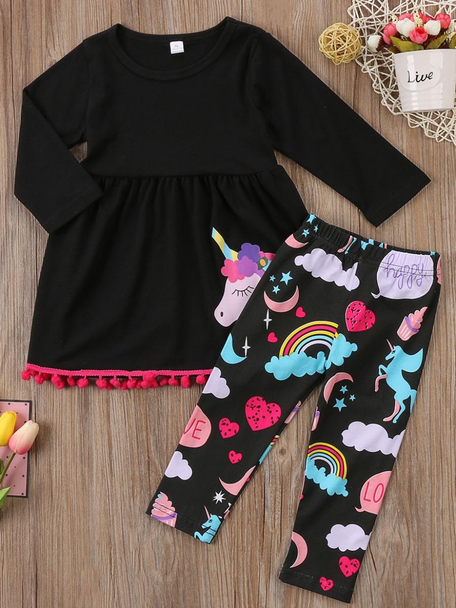 LW Lovely Trendy O Neck Cartoon Print Black Girl Two-piece Pants Set