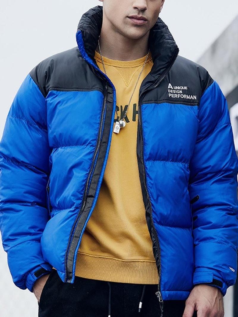 Ericdress Mid-Length Hooded Color Block Zipper Men's Down Jacket
