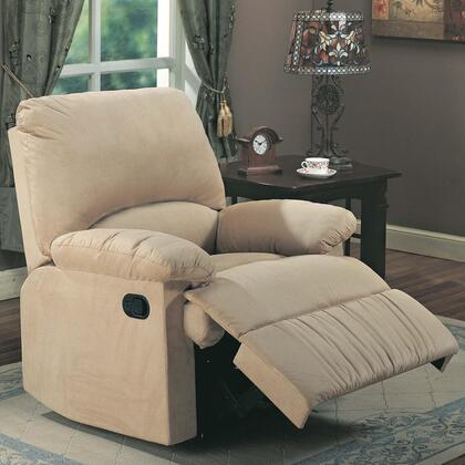 600264 35 Recliner with Reclining Mechanism  External Handle  Pillow Top Arms  Broad Pillow Back  Cradle Legs and Microfiber Upholstery in Light