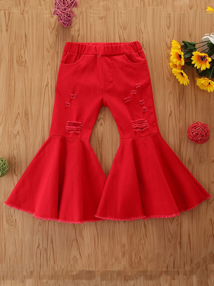 LW Lovely Stylish Flared Red Girl Jeans
