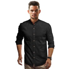 Shirt mit Stehkragen und Knopfen